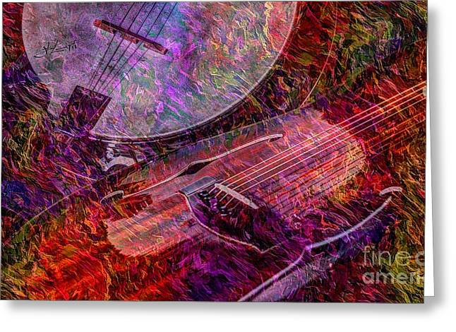 Acoustical Digital Art Greeting Cards - Pickin and a Grinnin Digital Banjo and Guitar Art by Steven Langston Greeting Card by Steven Lebron Langston