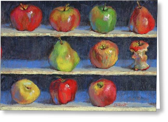 Donna Shortt Greeting Cards - Picking Apples Greeting Card by Donna Shortt