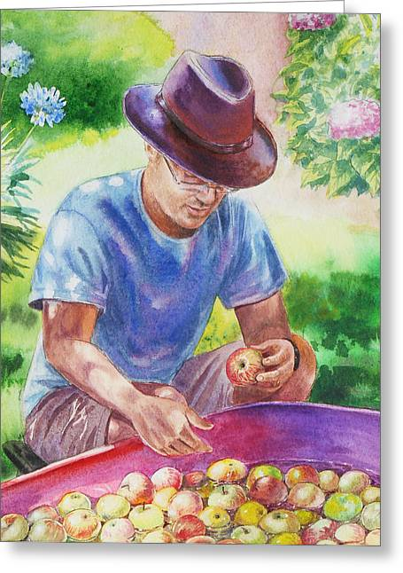 Apple Picking Greeting Cards - Picking Apples Greeting Card by Irina Sztukowski
