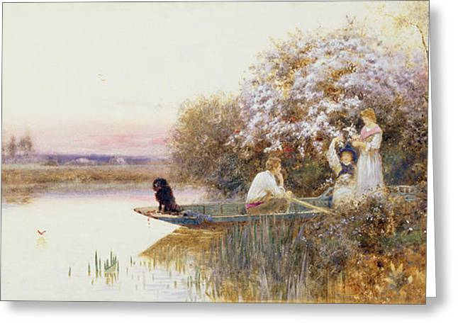 Punting Greeting Cards - Picking Blossoms Greeting Card by Thomas James Lloyd