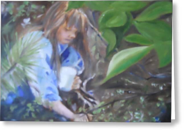 Picking Blueberries Greeting Card by Joyce Reid
