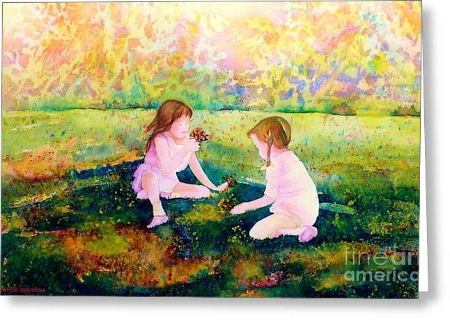 Park Scene Paintings Greeting Cards - Picking Flowers In The Park Paintings Of Montreal Park Scenes Children Playing Carole Spandau Greeting Card by Carole Spandau
