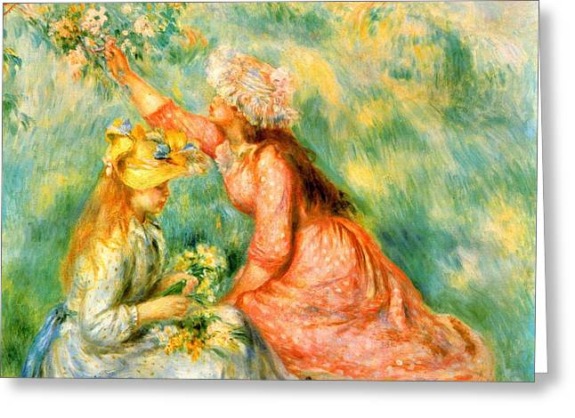 Picking Digital Art Greeting Cards - Picking Flowers Greeting Card by Renoir