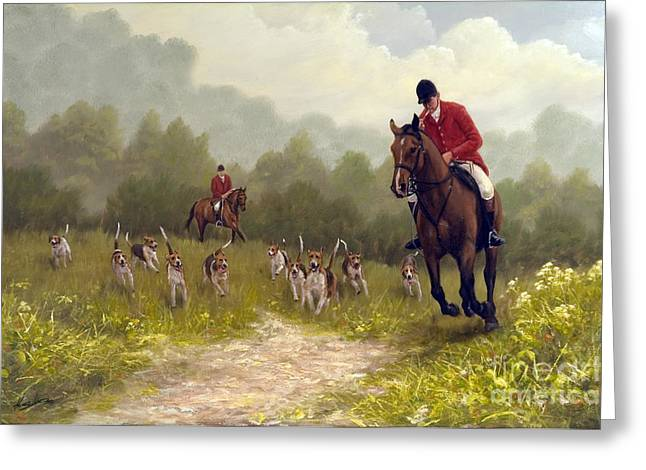 Fox Hunting Greeting Cards - Picking up the scent Greeting Card by John Silver