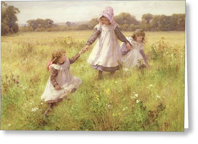 Little Greeting Cards - Picking Wild Flowers Greeting Card by William Affleck