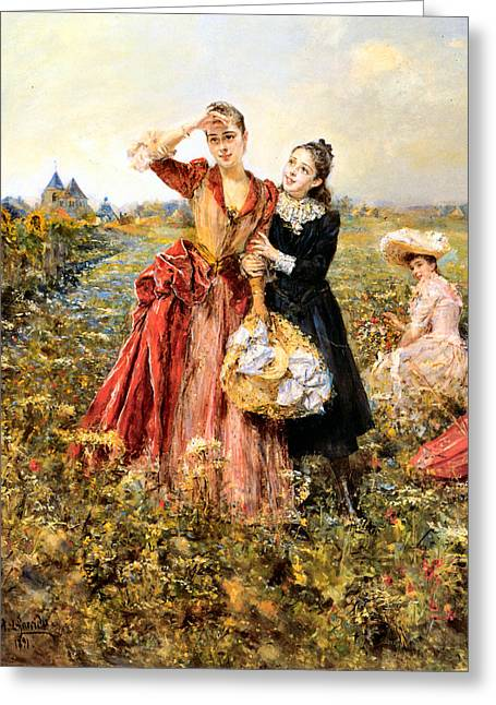 Picking Digital Art Greeting Cards - Picking Wildflowers Greeting Card by Eduardo Leon Garrido
