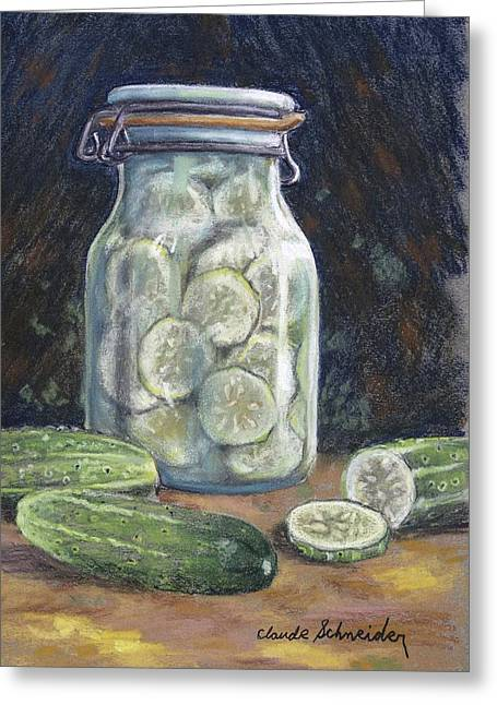 Vinegar Greeting Cards - Pickled Cucumbers Greeting Card by Claude Schneider