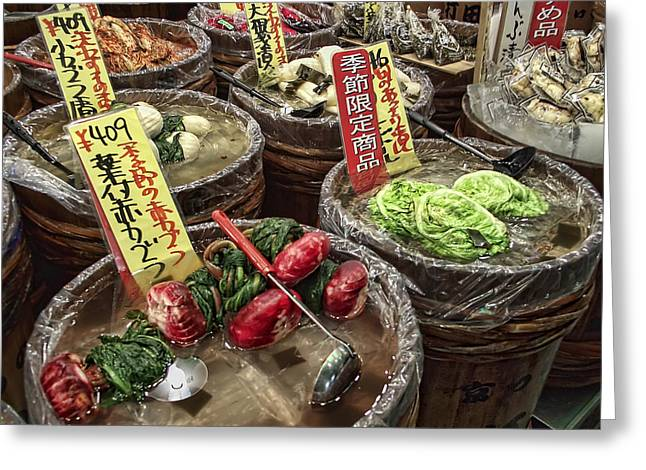 Vinegar Greeting Cards - Pickled Vegetables Street Vendor - Kyoto Japan Greeting Card by Daniel Hagerman