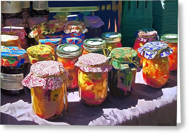 Canning Jars Greeting Cards - Pickles and Jellies Greeting Card by Susan Savad
