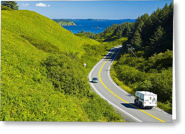 Kodiak Greeting Cards - Pickup Camper Driving Along Chiniak Greeting Card by Michael DeYoung