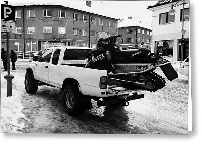 Scandanavian Greeting Cards - pickup truck carrying snowmobile Honningsvag finnmark norway europe Greeting Card by Joe Fox