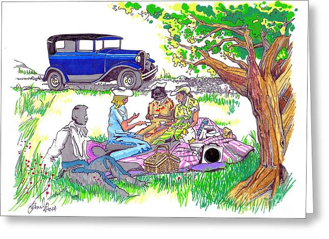 Born Again Drawings Greeting Cards - Picnic Greeting Card by Andooga Design
