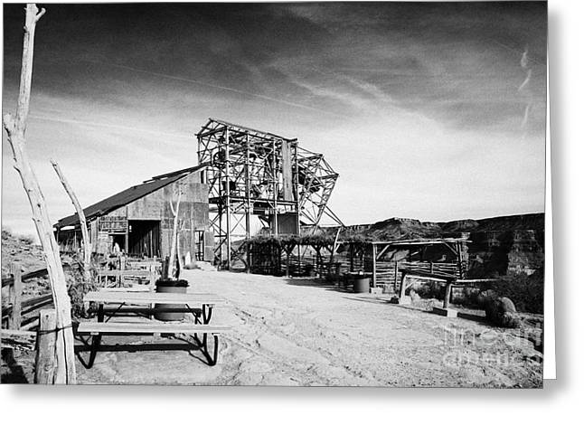Guano Greeting Cards - picnic area and remains of old tramway headhouse for the mine at guano point Grand Canyon west arizo Greeting Card by Joe Fox