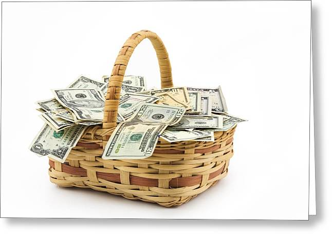 White Background Digital Art Greeting Cards - Picnic Basket Full Of Money Greeting Card by Keith Webber Jr