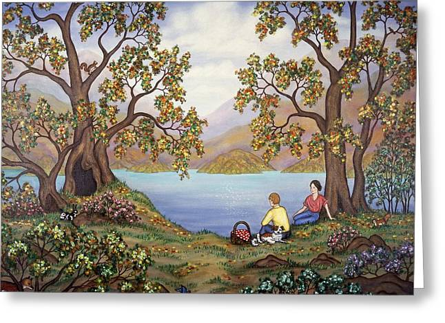 Best Sellers Greeting Cards - Picnic by a Lake Greeting Card by Linda Mears
