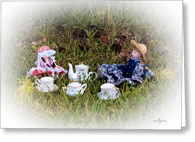 Tea For Two Greeting Cards - Picnic for Dolls Greeting Card by Mechala  Matthews