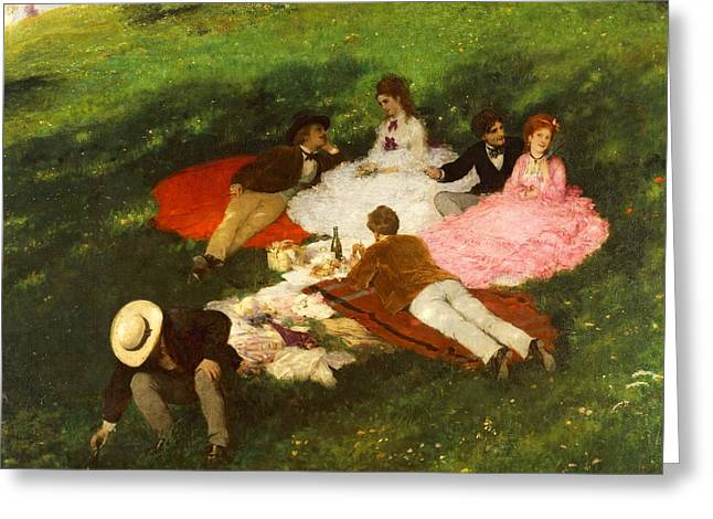 Family Member Greeting Cards - Picnic in May Greeting Card by Pal Szinyei Merse