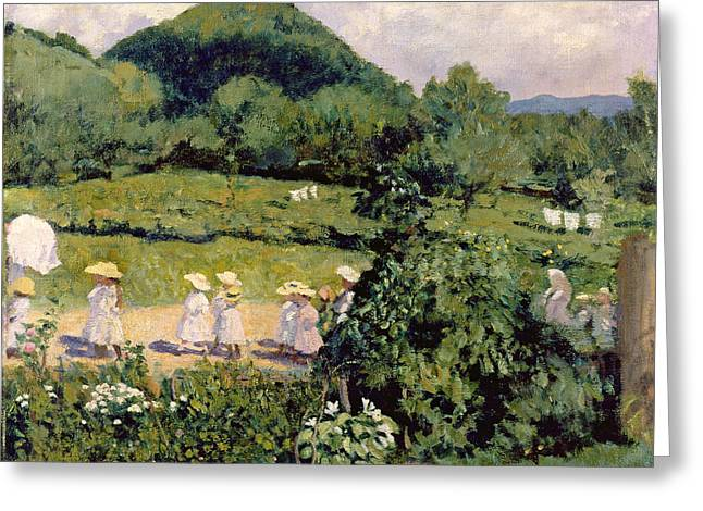Straw Greeting Cards - Picnic In May, Summer Day, 1906 Greeting Card by Karoly Ferenczy