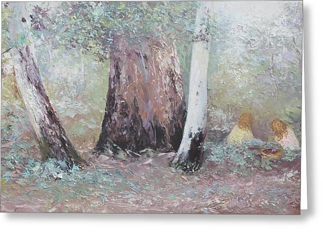 Lounge Paintings Greeting Cards - Picnic in the Forest Greeting Card by Jan Matson