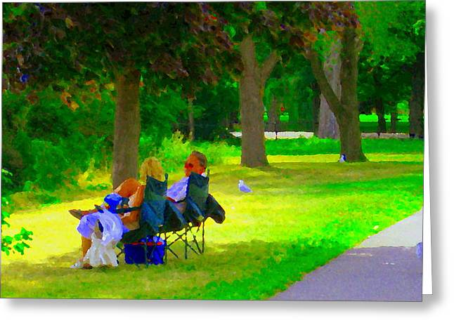 Sunday Picnic Greeting Cards - Picnic In The Park Lakeshore Drive Romantic Summer Scene  Near Dorval Montreal Art Carole Spandau Greeting Card by Carole Spandau