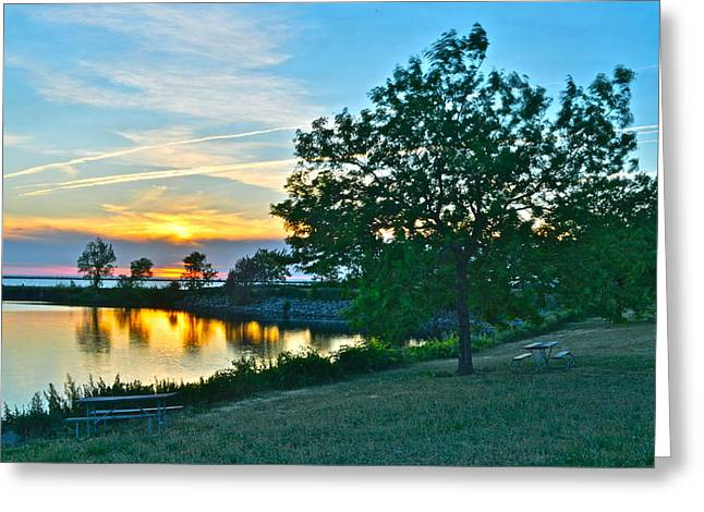 Marvelous View Greeting Cards - Picnic Lake Greeting Card by Frozen in Time Fine Art Photography