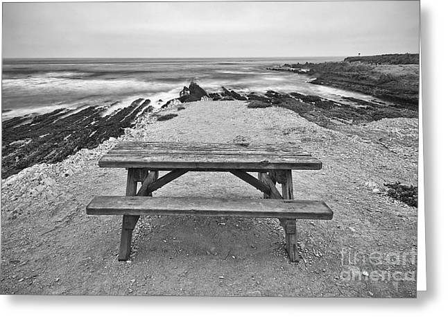 Layer Greeting Cards - Picnic - lone table overlooking the ocean in Montana de Oro State Park in Caliornia Greeting Card by Jamie Pham