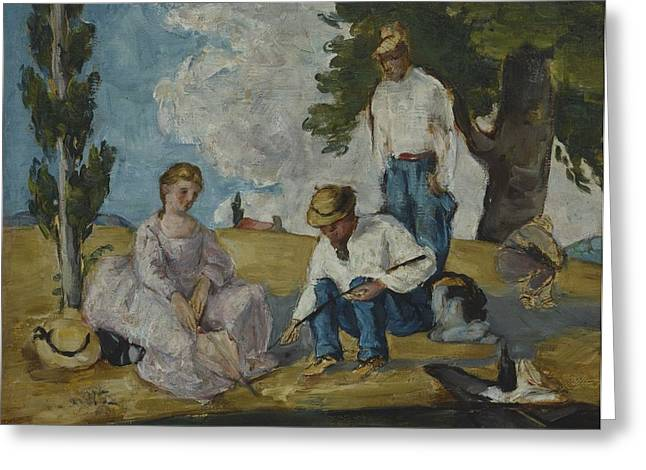 Picnic Greeting Cards - Picnic On A Riverbank, 1873-74 Greeting Card by Paul Cezanne