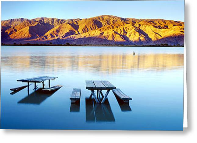 Lone Pine Greeting Cards - Picnic Tables In The Lake, Diaz Greeting Card by Panoramic Images