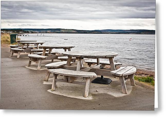 Picnic tables Greeting Card by Tom Gowanlock