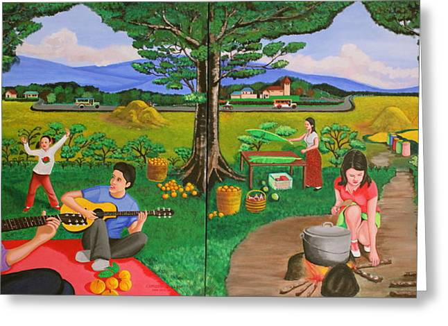 Maza Greeting Cards - Picnic with the Farmers and Playing Melodies under the Shade of Trees Greeting Card by Lorna Maza