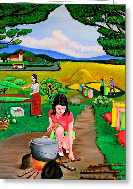 Maza Greeting Cards - Picnic with the Farmers Greeting Card by Lorna Maza