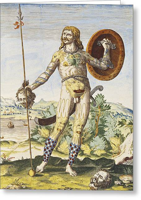 Scots Greeting Cards - Pictish Man, From Admiranda Narratio..., Engraved By Theodore De Bry 1528-98 1585-88 Coloured Greeting Card by John White