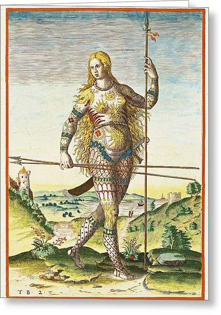 Femme Greeting Cards - Pictish Woman, From Admiranda Narratio..., Engraved By Theodore De Bry 1528-98 1585-88 Coloured Greeting Card by John White