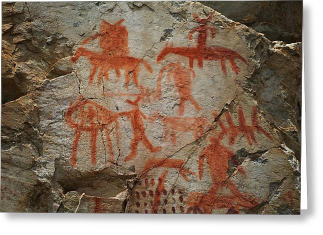 Pictographs On The Salmon River Greeting Card by Kevin Felts