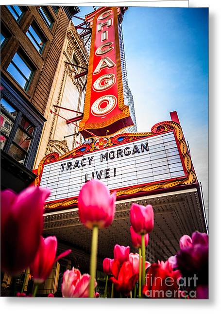 Pictue Of Chicago Theatre Sign With Tracy Morgan Greeting Card by Paul Velgos