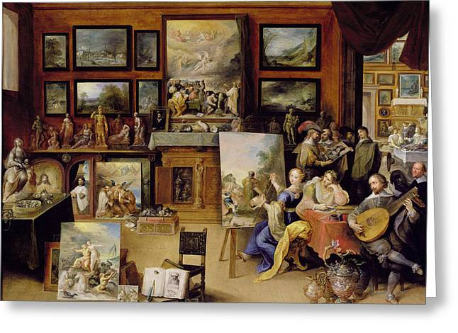 Easel Greeting Cards - Pictura, Poesis And Musica In A Pronkkamer Oil On Panel Greeting Card by Frans II the Younger Francken