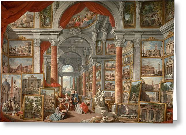 Giovanni Paolo Panini Greeting Cards - Picture Gallery with Views of Modern Rome Greeting Card by Giovanni Paolo Panini