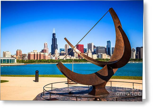 Editorial Photographs Greeting Cards - Picture of Chicago Adler Planetarium Sundial Greeting Card by Paul Velgos