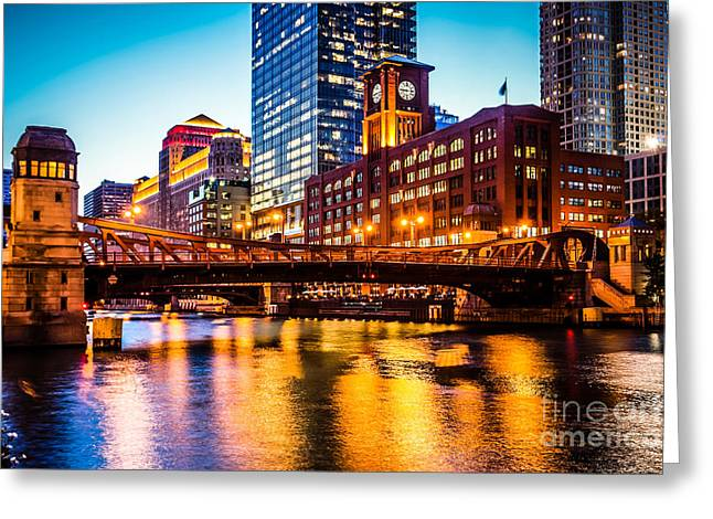 Riverfront Greeting Cards - Picture of Chicago at Night with Clark Street Bridge Greeting Card by Paul Velgos