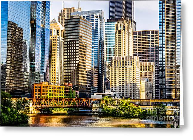 Chicago Loop Greeting Cards - Picture of Chicago Buildings at Lake Street Bridge Greeting Card by Paul Velgos
