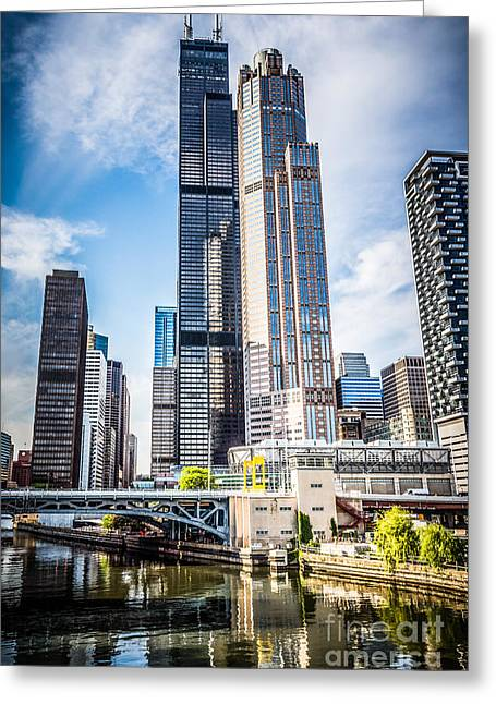 Chicago Loop Greeting Cards - Picture of Chicago Buildings with Willis-Sears Tower Greeting Card by Paul Velgos