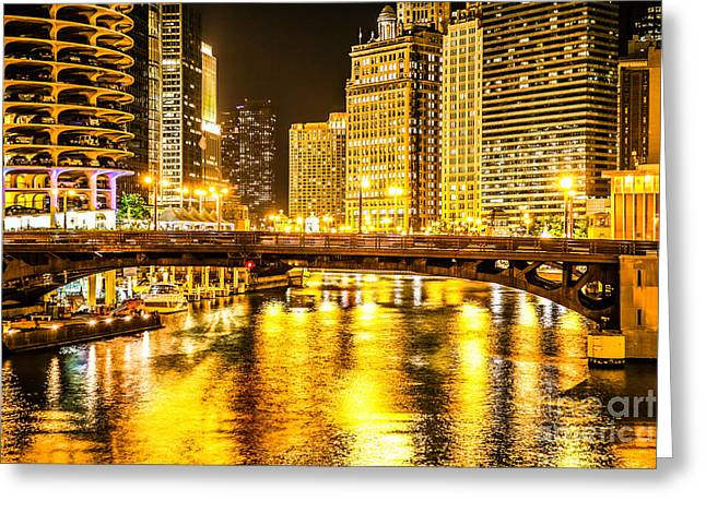 Marina Night Greeting Cards - Picture of Chicago Dearborn Street Bridge at Night Greeting Card by Paul Velgos