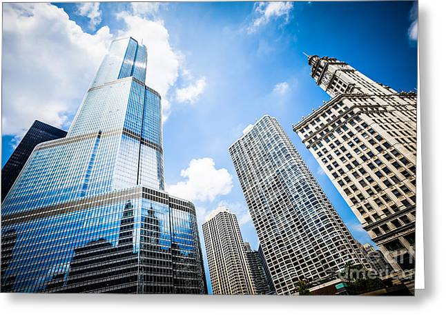 Trump Hotel Greeting Cards - Picture of Chicago New and Old Buildings Greeting Card by Paul Velgos