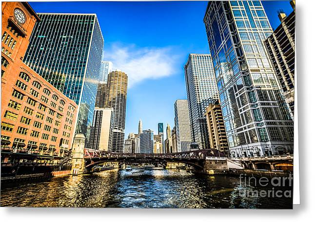 Reid Murdoch Building Greeting Cards - Picture of Chicago River Skyline at Clark Street Bridge Greeting Card by Paul Velgos