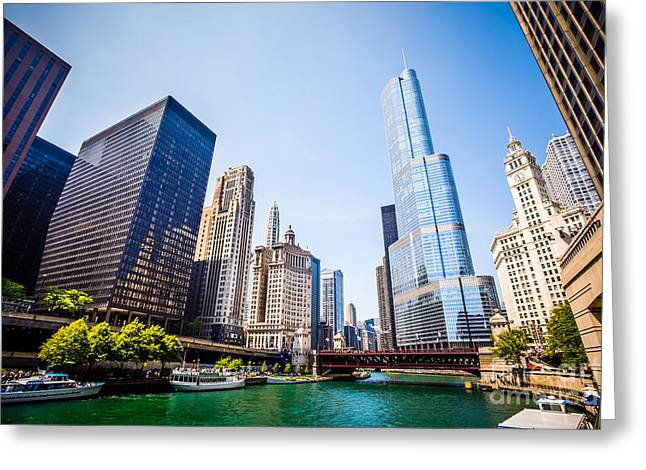Riverfront Greeting Cards - Picture of Chicago Skyline at Michigan Avenue Bridge Greeting Card by Paul Velgos