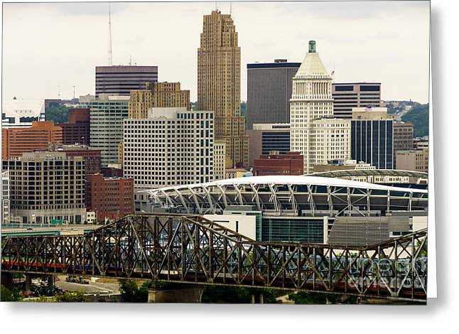 Pnc Greeting Cards - Picture of Cincinnati Skyline Office Buildings  Greeting Card by Paul Velgos