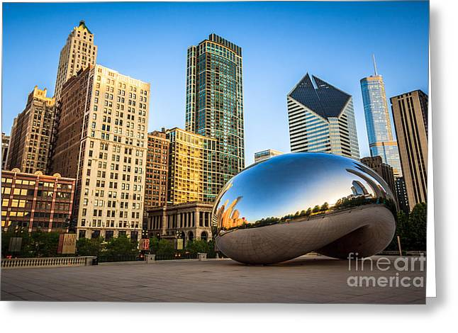 Editorial Greeting Cards - Picture of Cloud Gate Bean and Chicago Skyline Greeting Card by Paul Velgos
