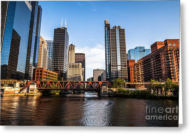 Chicago Loop Greeting Cards - Picture of Downtown Chicago Loop Buildings Greeting Card by Paul Velgos