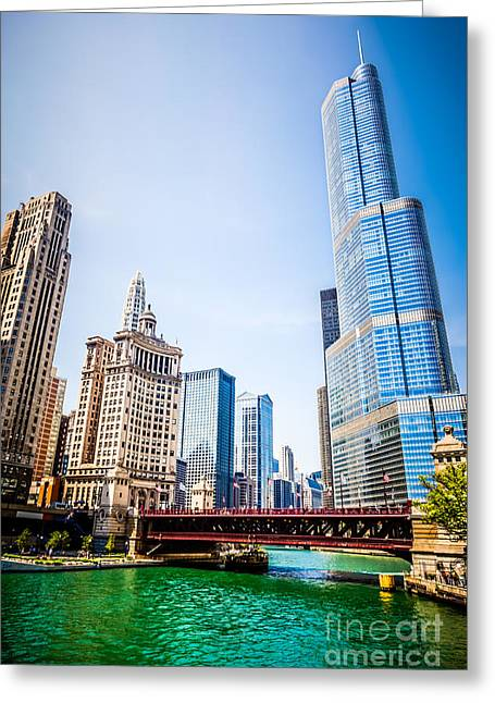 United Airline Greeting Cards - Picture of Downtown Chicago with Trump Tower Greeting Card by Paul Velgos