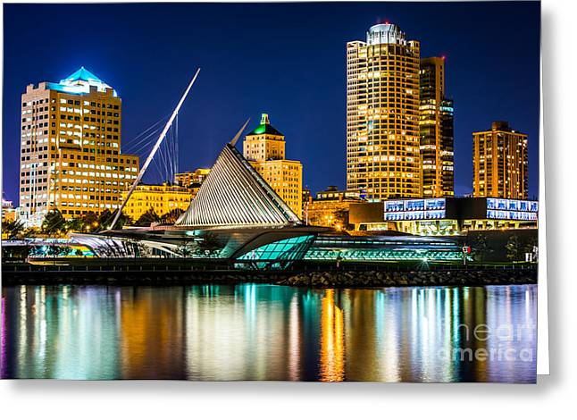 Milwaukee Art Museum Greeting Cards - Picture of Milwaukee Skyline at Night Greeting Card by Paul Velgos